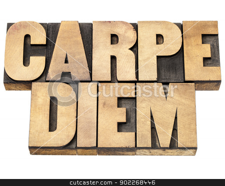 Carpe Diem in wood type stock photo, Enjoy life before it is too late, existential cautionary Latin phrase by Horace - Carpe Diem  - isolated text in vintage letterpress wood type printing blocks by Marek Uliasz