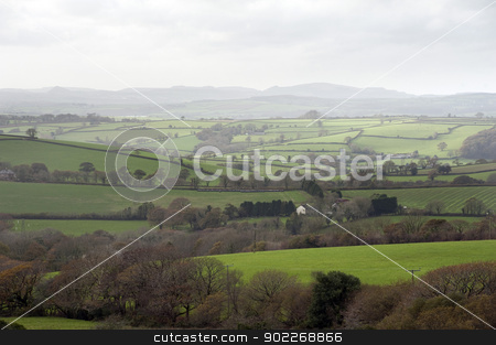 Misty Cornish landscape stock photo, Misty Cornish landscape with beautiful lush green pastures and gently rolling hills on an overcast day by Stephen Gibson