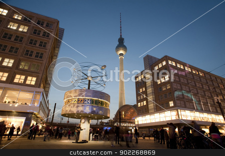 fernsehturm and weltzeituhr stock photo, the main landmarks in alexanderplatz berlin, the fernsehturm tv tower and weltzeituhr world clock by Stephen Gibson