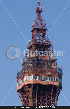 Top of the Blackpool Tower stock photo, Top of the historic victorian Blackpool Tower which is a popular tourist attraction and member of the World Federation of Great Towers by Stephen Gibson