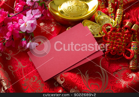 Chinese new year stock photo, Chinese new year festival decorations , the chinese character on the gold ingots means fortune and luck by szefei