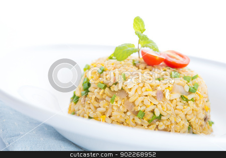Chinese egg fried rice stock photo, Chinese egg fried rice, Asian vegetarian cuisine ready to eat by szefei