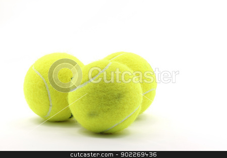 Tennis Ball stock photo, Tennis Ball Sport Equipment on White Background using as World Competition Concept by Vichaya Kiatying-Angsulee