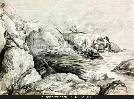 Ocean shore stock photo,  Original pencil  or drawing charcoal and  hand drawn painting or  working  sketch of a quiet lake or ocean and shore with trees and rocks by borojoint