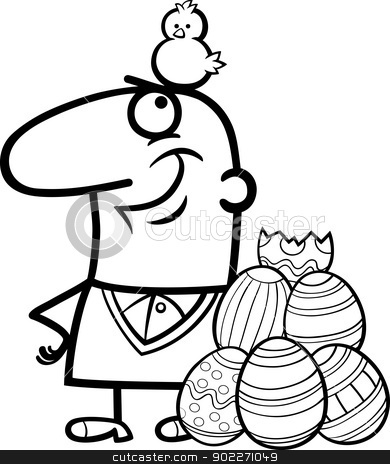 man with easter eggs and chicken cartoon stock vector clipart, Black and White Cartoon Illustration of Happy Man with Easter Chicken or Chick Hatched from Colored Egg by Igor Zakowski