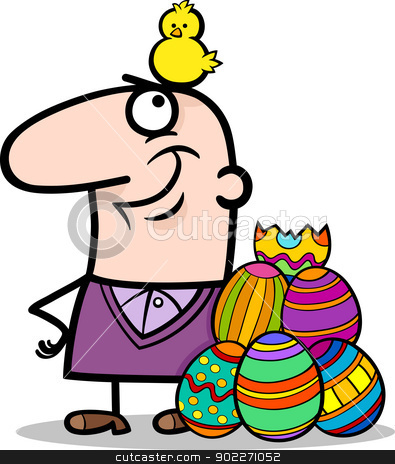 man with easter eggs and chicken cartoon stock vector clipart, Cartoon Illustration of Happy Man with Easter Chicken or Chick Hatched from Colored Egg by Igor Zakowski
