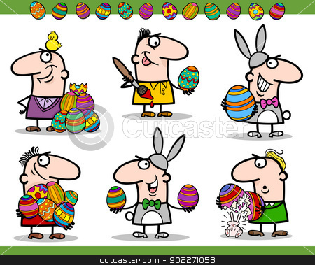 easter themes set cartoon illustration stock vector clipart, Cartoon Illustration of Happy Men Easter Themes with Bunny, Chicken or Chick and Colored Eggs by Igor Zakowski