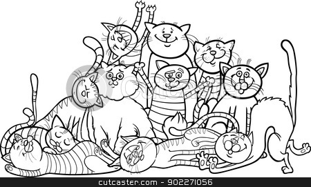 happy cats group cartoon for coloring book stock vector clipart, Black and White Cartoon Illustration of Happy Cats or Kittens Group for Coloring Book or Coloring Page by Igor Zakowski