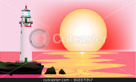 Lighthouse Sunset stock vector clipart, A lighthouse at sunset, set against a pink sky and sea. by Kotto