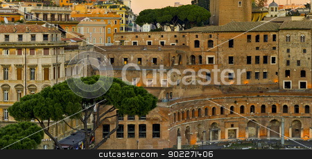 Rome: modern and ancient stock photo, Modern and ancient buildings in Rome at sunset by lillo