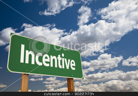 Incentive Green Road Sign stock photo, Incentive Green Road Sign Over Clouds and Sky. by Andy Dean