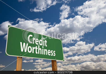Credit Worthiness Green Road Sign stock photo, Credit Worthiness Green Road Sign Over Clouds and Sky. by Andy Dean