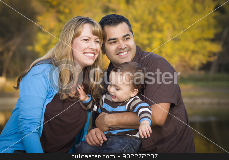 Happy Mixed Race Ethnic Family Playing In The Park stock photo, Happy Mixed Race Ethnic Family Having Fun Playing In The Park. by Andy Dean