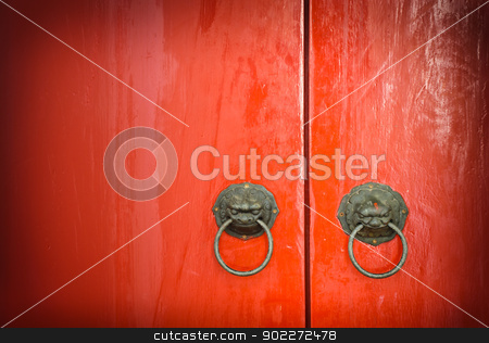 Red door stock photo, Red Chinese door by boonsom