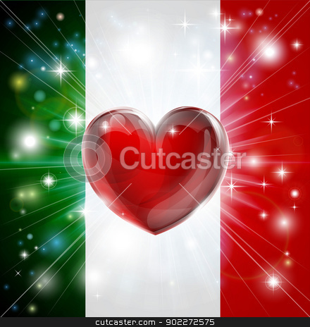 Love Italy flag heart background stock vector clipart, Flag of Italy patriotic background with pyrotechnic or light burst and love heart in the centre by Christos Georghiou
