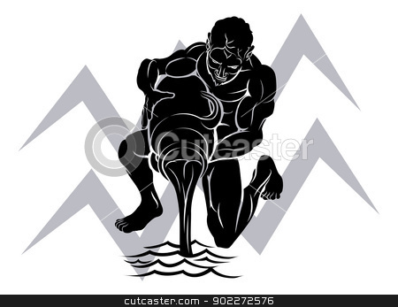Aquarius zodiac horoscope astrology sign stock vector clipart, Illustration of Aquarius the water bearer or carrier zodiac horoscope astrology sign by Christos Georghiou