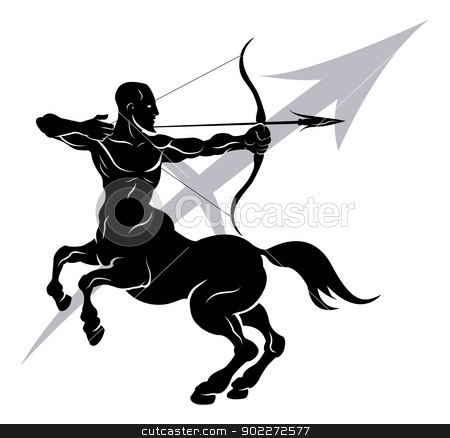Sagittarius zodiac horoscope astrology sign stock vector clipart, Illustration of Sagittarius the archer or centaur zodiac horoscope astrology sign by Christos Georghiou