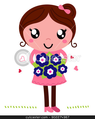 Mother holding a flowers for Mother's Day isolated on white stock vector clipart, Mom holding flower bouquet isolated on white. Vector by BEEANDGLOW