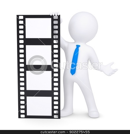 3d man holding a film stock photo, 3d man holding a film. Isolated render on a white background by cherezoff