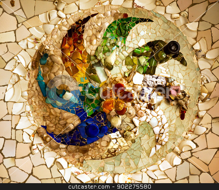 Antoni Gaudi Ceramic Mosaic Design, Guell Park, Barcelona, Catal stock photo, Antoni Gaudi ceramic mosaic design in Guell Park, Barcelona, Catalonia, Spain.  Guell Park is a residential complex designed by Antnoi Gaudi between 1900-1914, which is now a public park.  Now a UNESCO World Heritage Site,  by William Perry