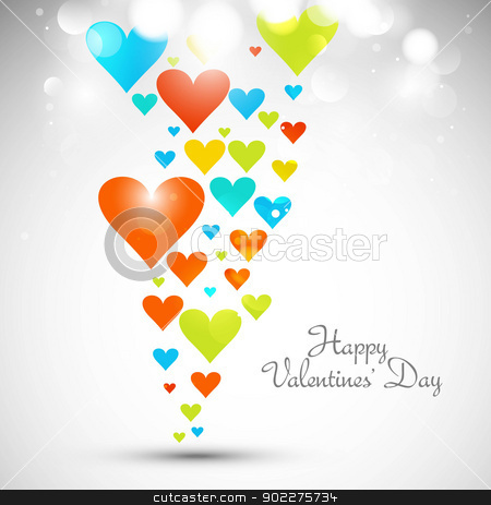 Beautiful valentines day with colorful hearts card vector whit b stock vector clipart, Beautiful valentines day with colorful hearts card vector whit background by bharat pandey