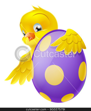 Cute chick and painted chocolate Easter egg stock vector clipart, Cute Easter chick cartoon character holding onto and peeking round a painted chocolate Easter egg by Christos Georghiou