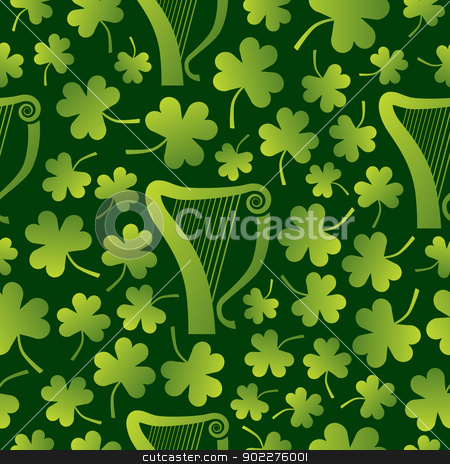 Seamless Harp and Shamrocks stock vector clipart, A seamless pattern of harps surrounded by shamrocks on a green background by Jamie Slavy