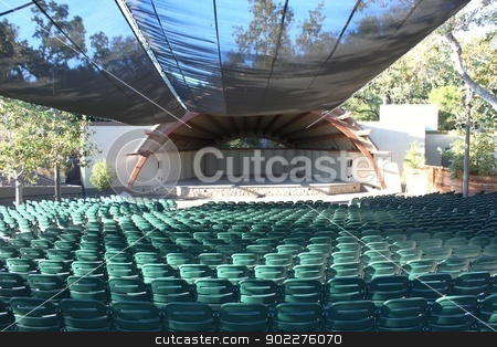 Libbey Bowl Ojai stock photo, Seating area of the Libbey Bowl in Ojai California by Henrik Lehnerer