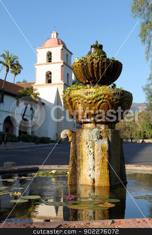 Santa Barbara Mission stock photo, The Historic Mission Santa Barbara in California USA by Henrik Lehnerer