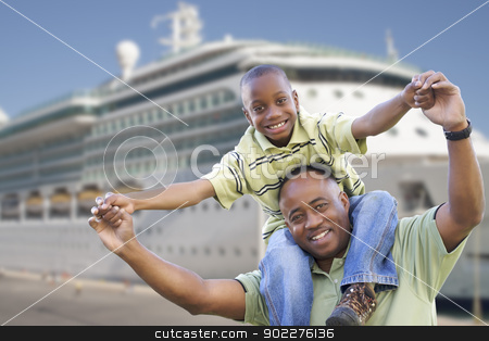 Happy Father and Son In Front of Cruise Ship stock photo, Happy African American Father and Son in Front of Cruise Ship. by Andy Dean