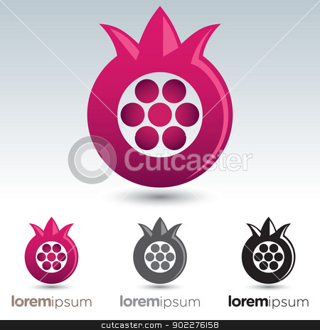 Pomegranate Icon stock vector clipart, Abstract and stylized pomegranate icon with options to use with text by HypnoCreative