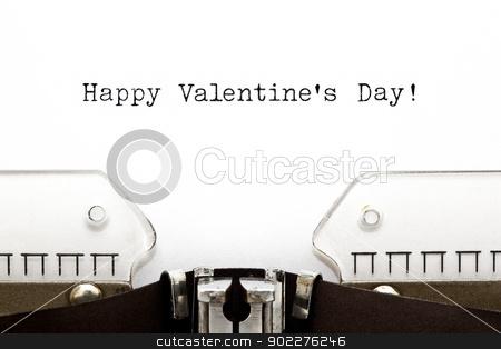 Typewriter Happy Valentines Day stock photo, Happy Valentine's Day greeting printed on an old typewriter  by Ivelin Radkov