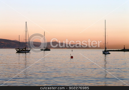 Italian colors of sunset stock photo, Picture of a sunset in Italy with red colors by willeye