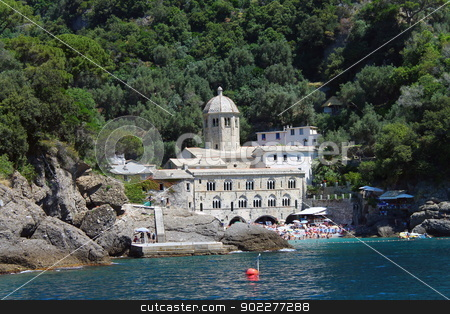 The pearl of San Fruttuoso stock photo, Wild abbey hidden in the trees in Italy by willeye