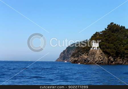 Portofino gulf and the sea stock photo, A picture of the Portofino gulf in Italy by willeye