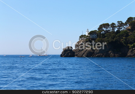 The Pharos before the unknown stock photo, Pharos of Portofino in Italian Riviera by willeye