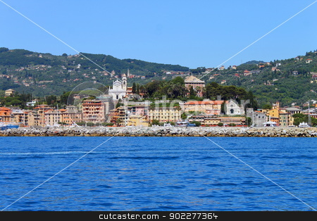 Santa Margherita Ligure from the sea stock photo, Picture of Santa Margherita Ligure in Italy by willeye