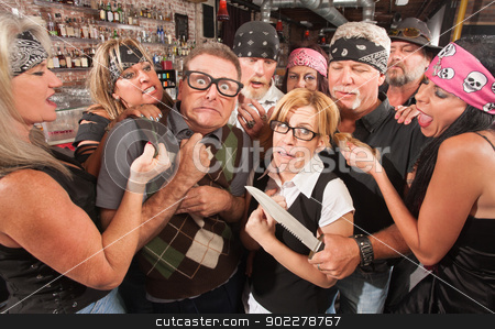 Nerd Couple Mugged by Gang stock photo, Biker gang mugging scared nerd couple in bar by Scott Griessel