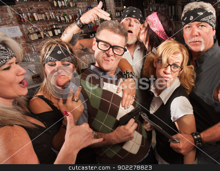 Cool Nerds with Biker Gang stock photo, Nerd husband and wife being cool with biker gang in bar by Scott Griessel