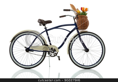 Beach cruiser with basket side view stock photo, Beach cruiser with basket side view isolated on white by Brayden  Iwasaki