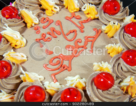 Light brown cream cake stock photo, Closeup light brown cream cake with sweet decorated by Exsodus