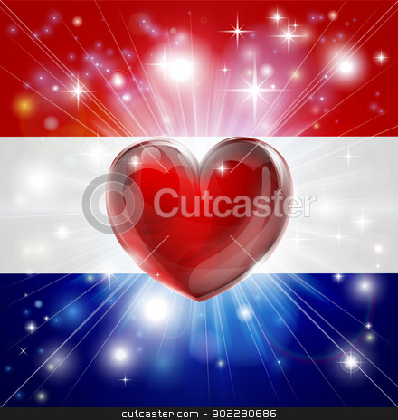 Love Netherlands flag heart background stock vector clipart, Flag of Netherlands patriotic background with pyrotechnic or light burst and love heart in the centre by Christos Georghiou
