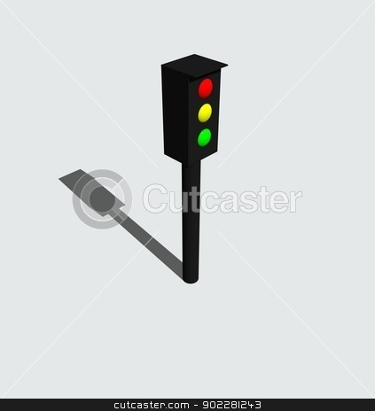 Traffic light stock photo, 3D object, isolated over white by Matthias Krapp