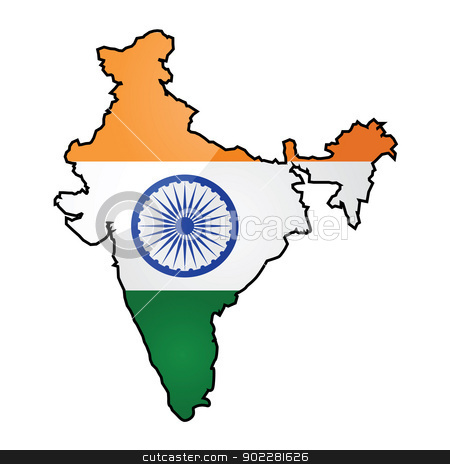 Map and flag of India stock vector clipart, Glossy illustration showing the flag of India overlapped on top of the country's map by Bruno Marsiaj