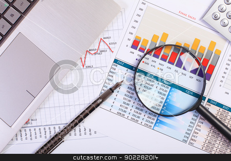 Businessman workplace with papers stock photo, Image of a businessman workplace with papers by Sergey Nivens