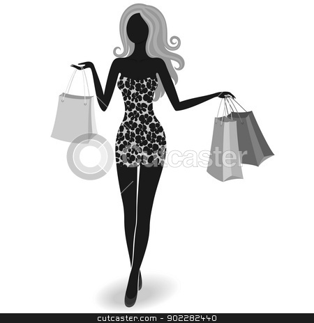 Silhouette of a shopping girl stock vector clipart, Silhouette of an isolated luxurious girl with shopping bags by Allaya