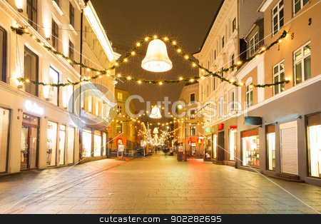 Oslo Downtown at Night stock photo, Oslo Downtown walking street at Night on New Year's Eve Day by Vichaya Kiatying-Angsulee