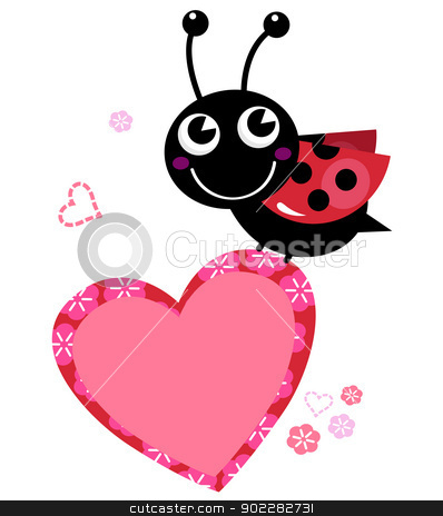 Cute flying Ladybug holding heart isolated on white stock vector clipart, Happy cute Ladybug with Valentines heart. Vector Illustration by BEEANDGLOW