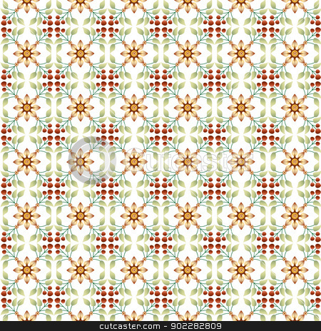 Floral Islamic Pattern stock vector clipart, Vector Seamless Floral Islamic Pattern by Sevgi Dal