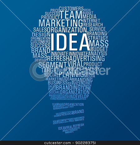 Marketing idea communication stock vector clipart, Light bulb shape with marketing concept words on blue background. Vector file layered for easy manipulation and custom coloring. by Cienpies Design